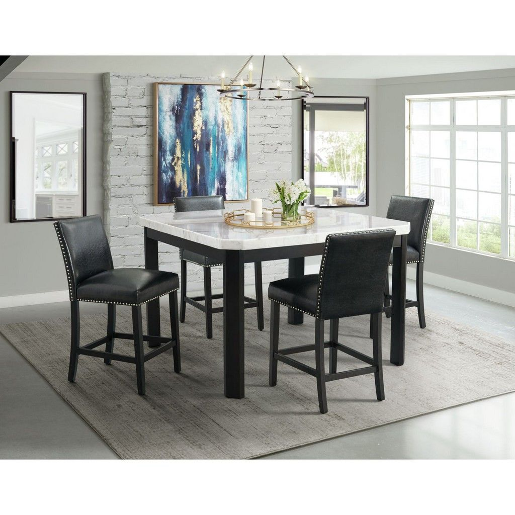 Celine White Marble 5pc Counter Height Dining Set Table Four Black Faux Leather Chairs Picket House Furnishings Cfc700sbl5pc
