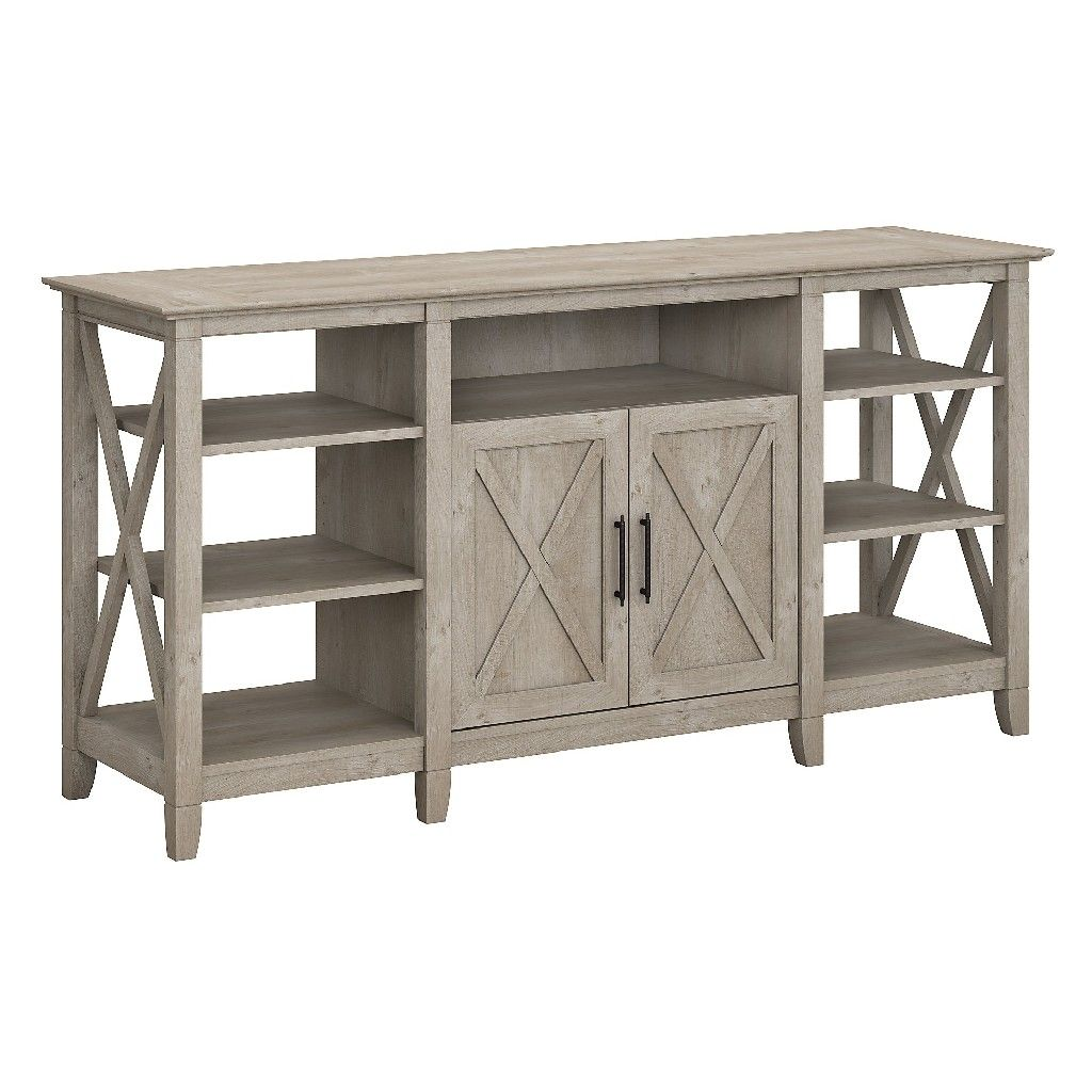 Bush Furniture Key West Tall Tv Stand For 70 Inch Tv In Washed Gray Kwv160wg 03