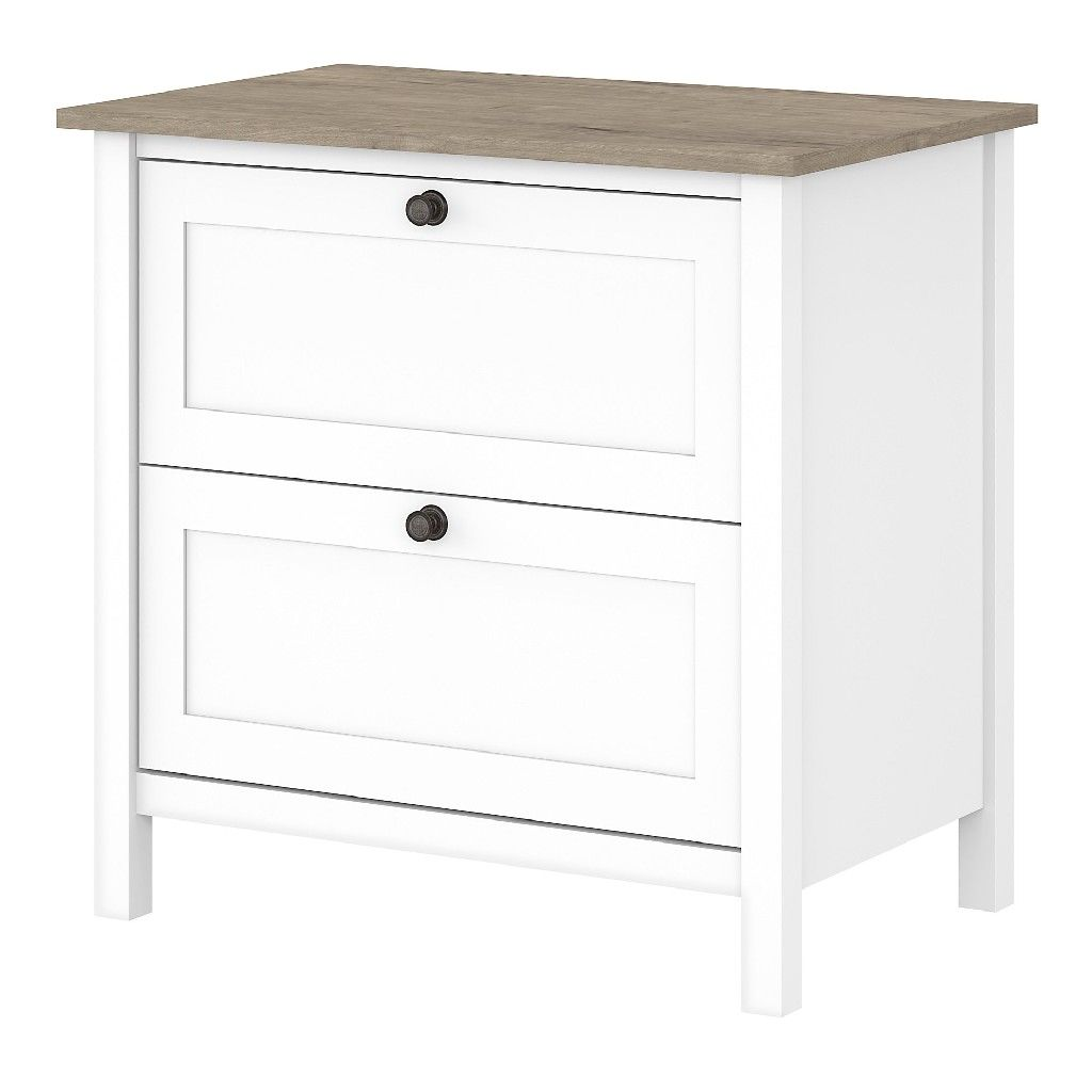 Bush Furniture Mayfield 2 Drawer Lateral File Cabinet In Pure White Shiplap Gray Maf131gw2 03