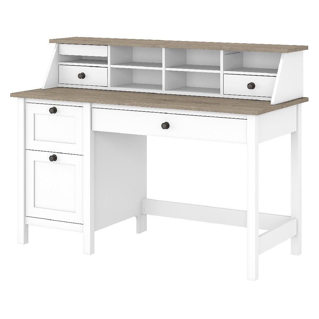 Bush Furniture Mayfield 54w Computer Desk W Drawers Desktop Organizer In Pure White Shiplap Gray May003gw2