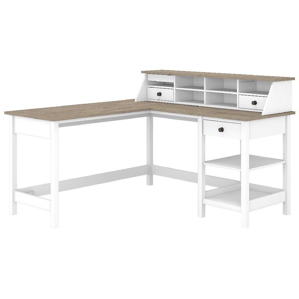 Bush Furniture Mayfield 332W L Shaped Computer Desk w/ Desktop Organizer in  Pure White & Shiplap Gray - MAY332GW32