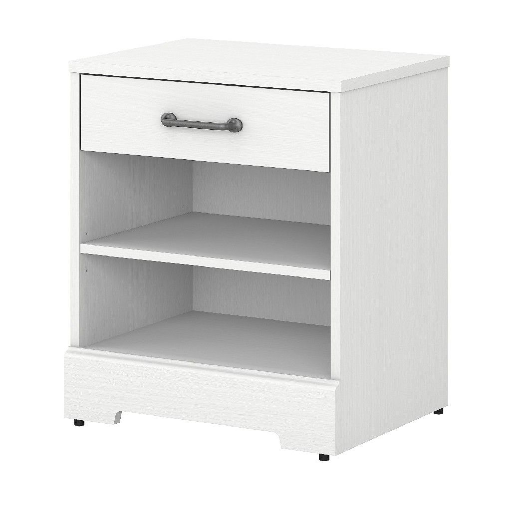 Kathy Ireland Home By Bush Furniture River Brook Nightstand With Drawer In White Suede Oak Bush Furniture Rbs121ws