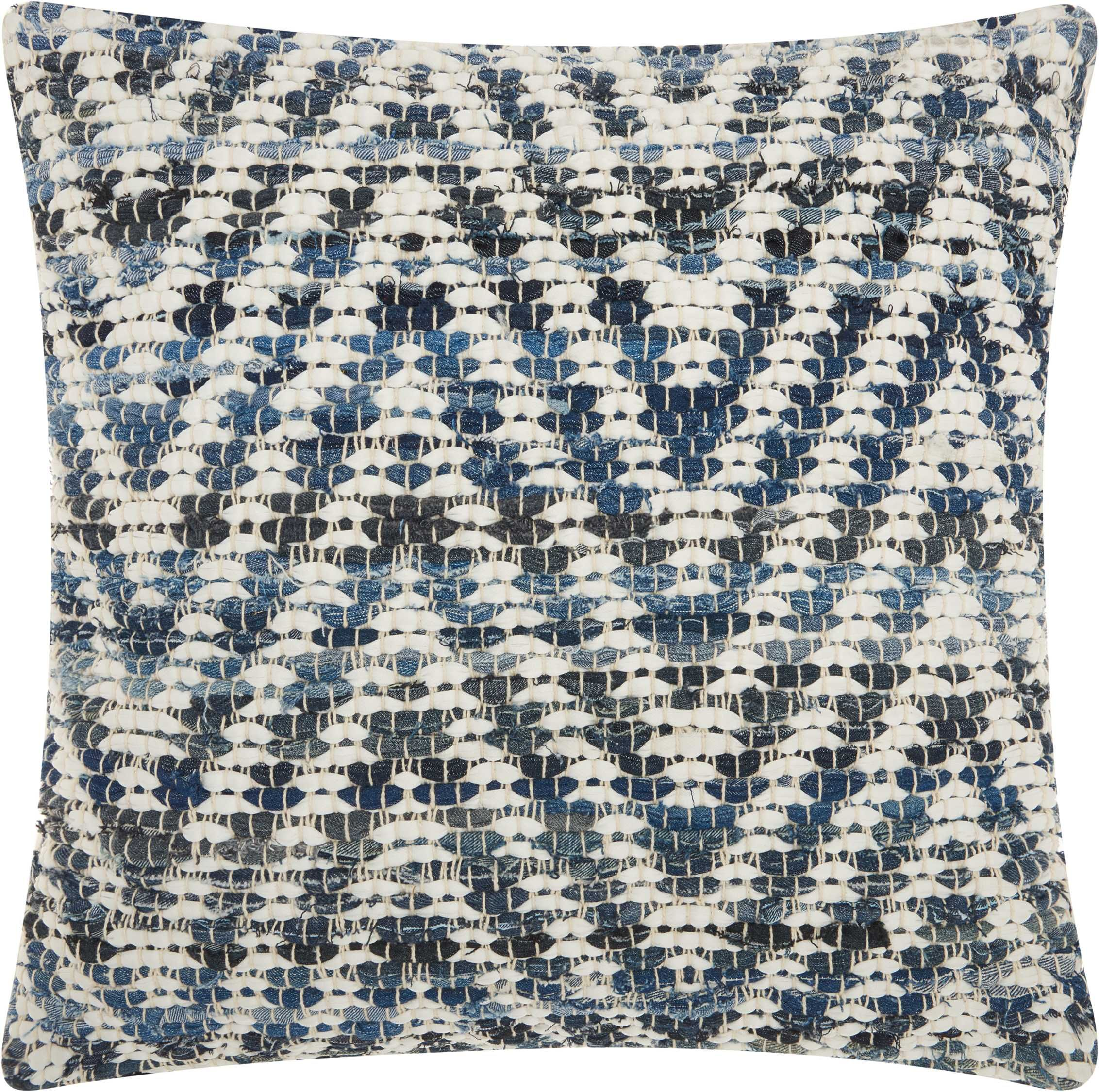 Mina Victory Life Styles Woven Chevron Denim Throw Pillow Nourison Dc933