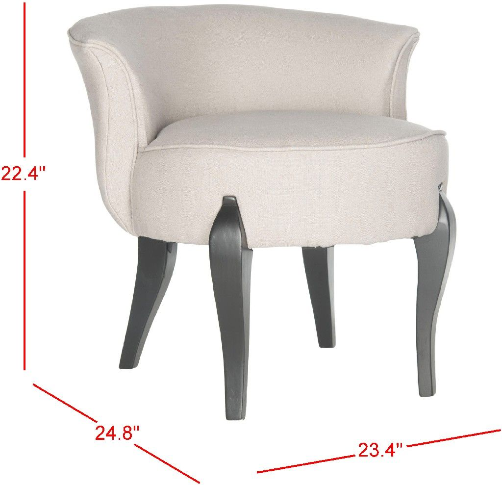 Mora French Leg Linen Vanity Chair In Taupe Black Safavieh Mcr4692a