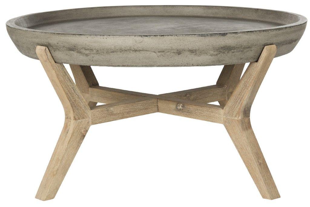 Picture of: Wynn Indoor Outdoor Modern Concrete Round 18 1 Inch H Coffee Table In Dark Grey Safavieh Vnn1013a