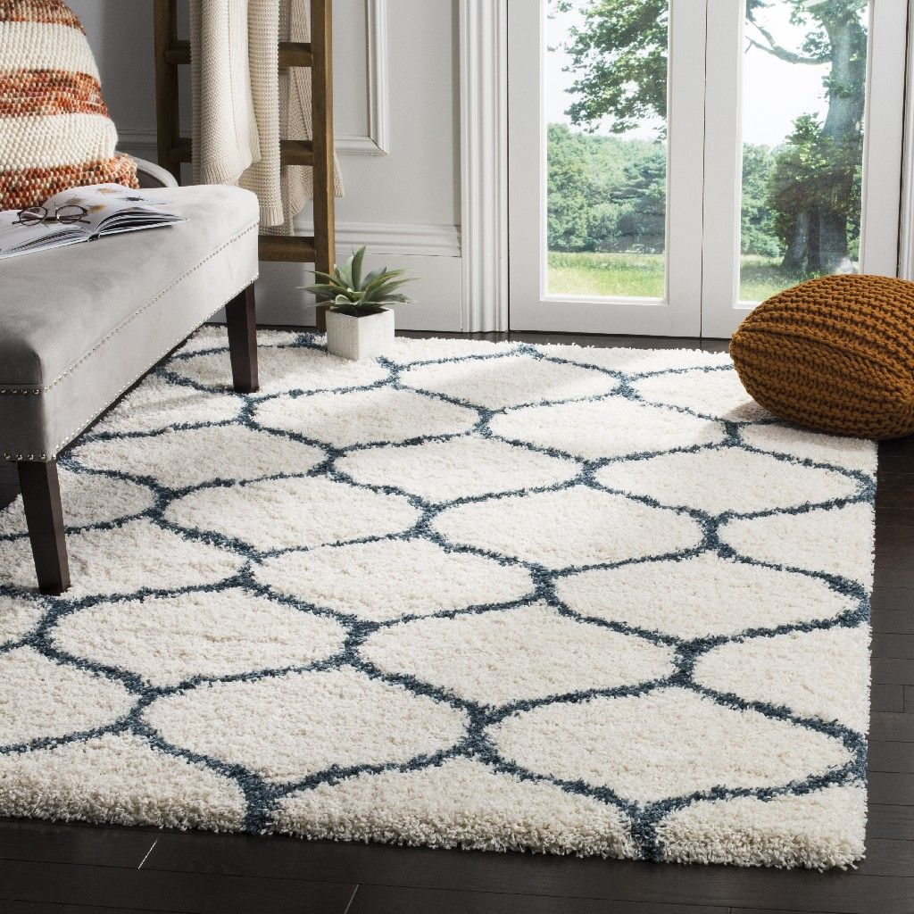 Hudson Shag Collection 9 X 12 Rug In Ivory And Slate Blue Safavieh Sgh280t 9