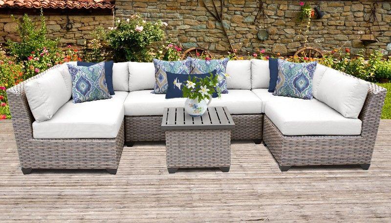 Florence 7 Piece Outdoor Wicker Patio, Outdoor Wicker Patio Furniture Sets