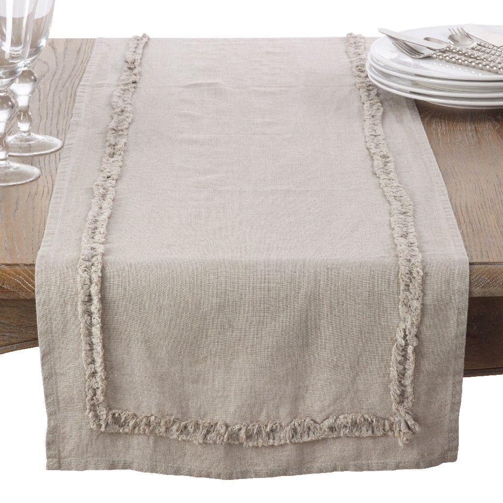Ruffled Design Trim Linen Topper Table Runner Saro Lifestyle 13026 N1672b