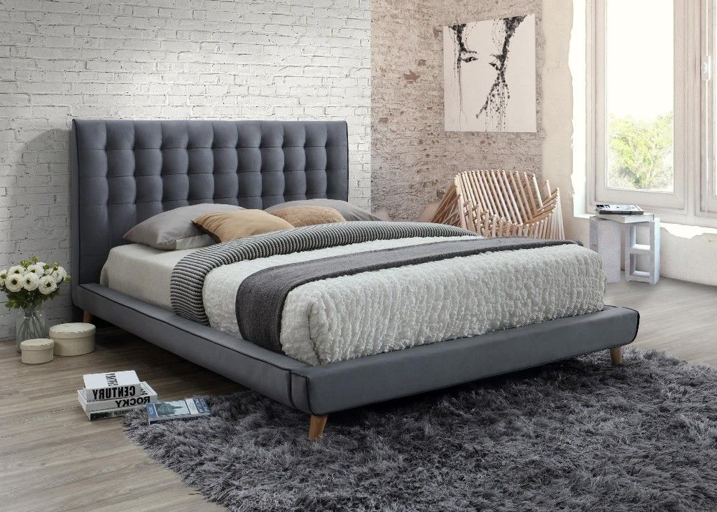 Newport Gray Tufted Upholstered King Bed Myco 2990 K Gy