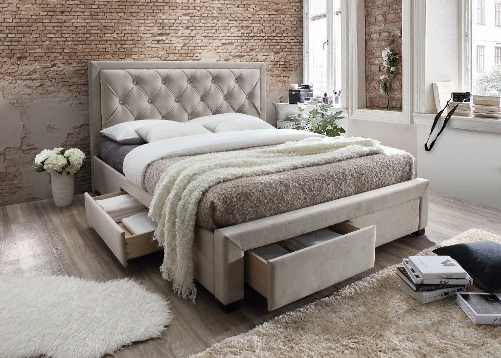 Erin Taupe Tufted Upholstered King Bed With Storage Drawers Myco 2991 K Ta