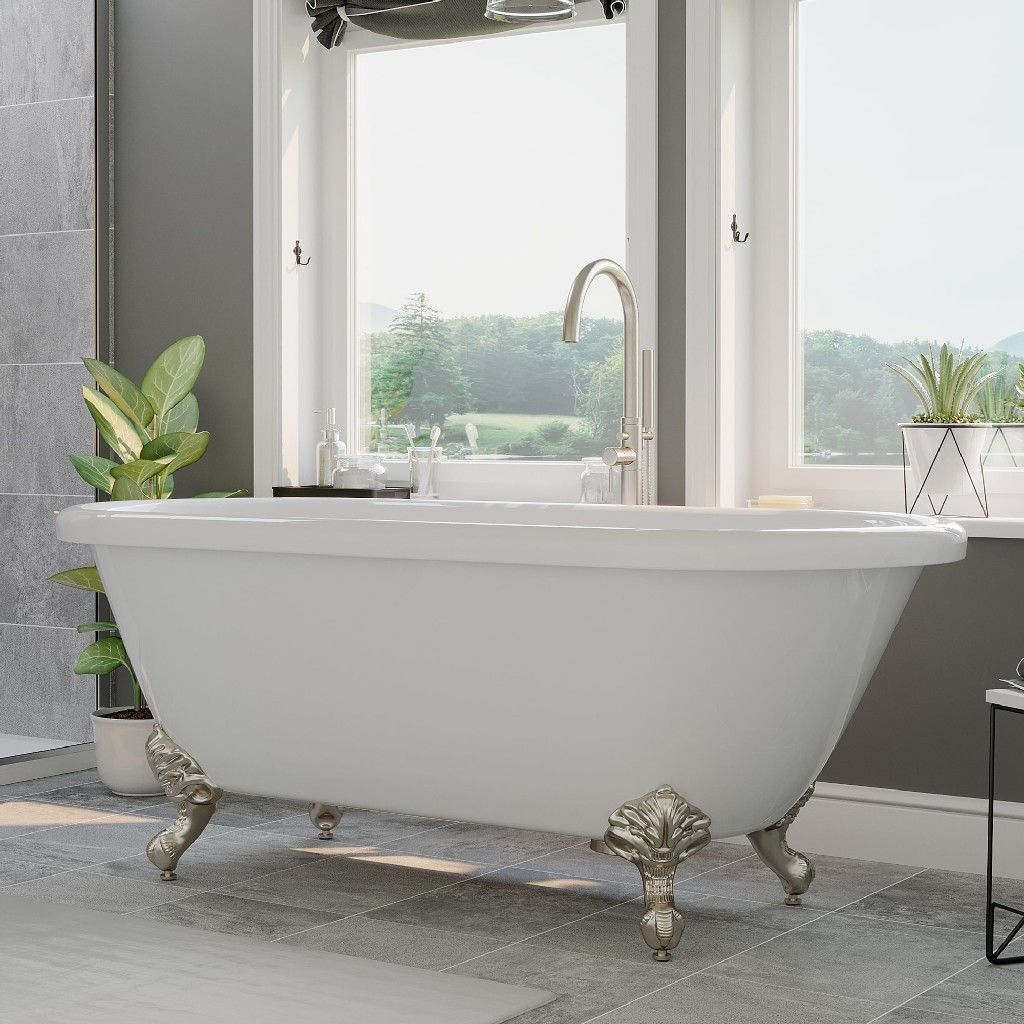 Acrylic Double Ended Clawfoot Bathtub 70 X 30 W No Faucet Drillings Complete Brushed Nickel Plumbing Package Cambridge Ade 150 Pkg Bn Nh