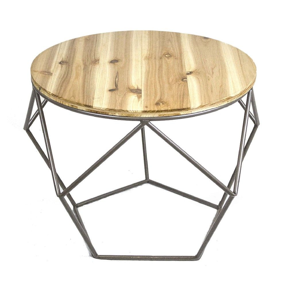 - Round Metal Accent Table, Wood Top - Sagebrook Home 11082