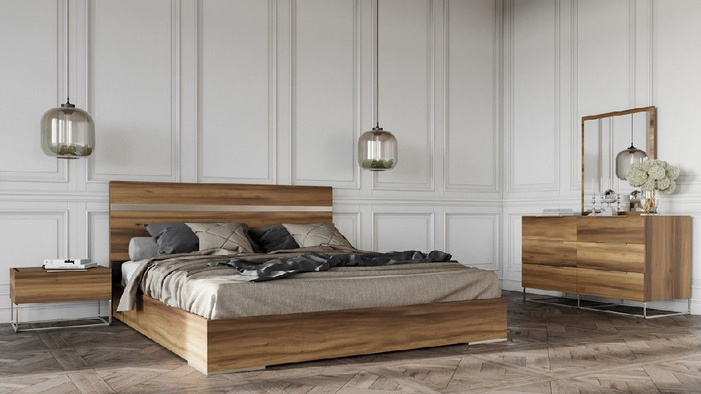 Nova Domus Lorenzo Italian Modern Light Oak Bedroom Set In Walnut Vig Furniture Vgaclorenzo Set