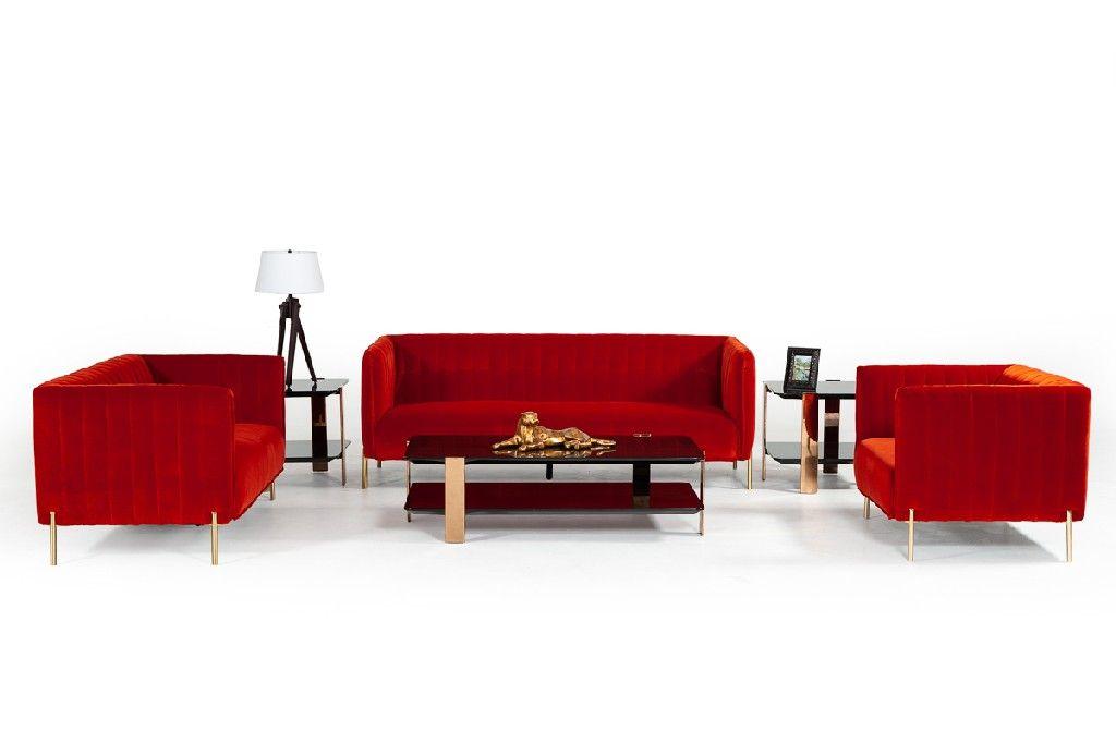 Red Orange Velvet Sofa Set