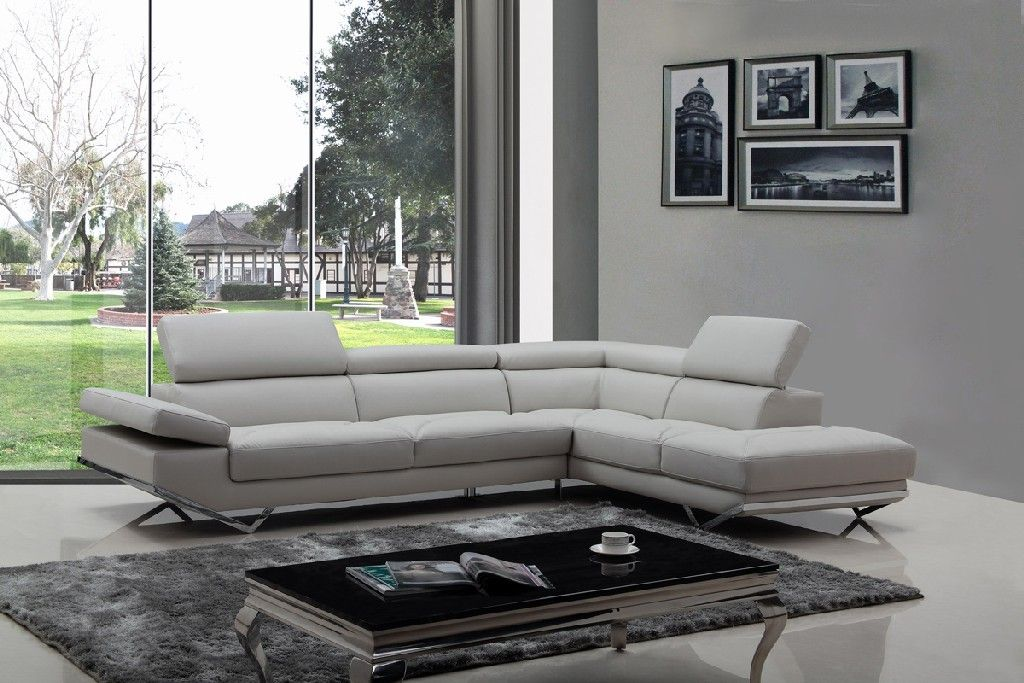 Divani Casa Quebec Modern Light Grey Eco Leather Sectional Sofa Vig Furniture Vgknk8488 Eco Ltgry
