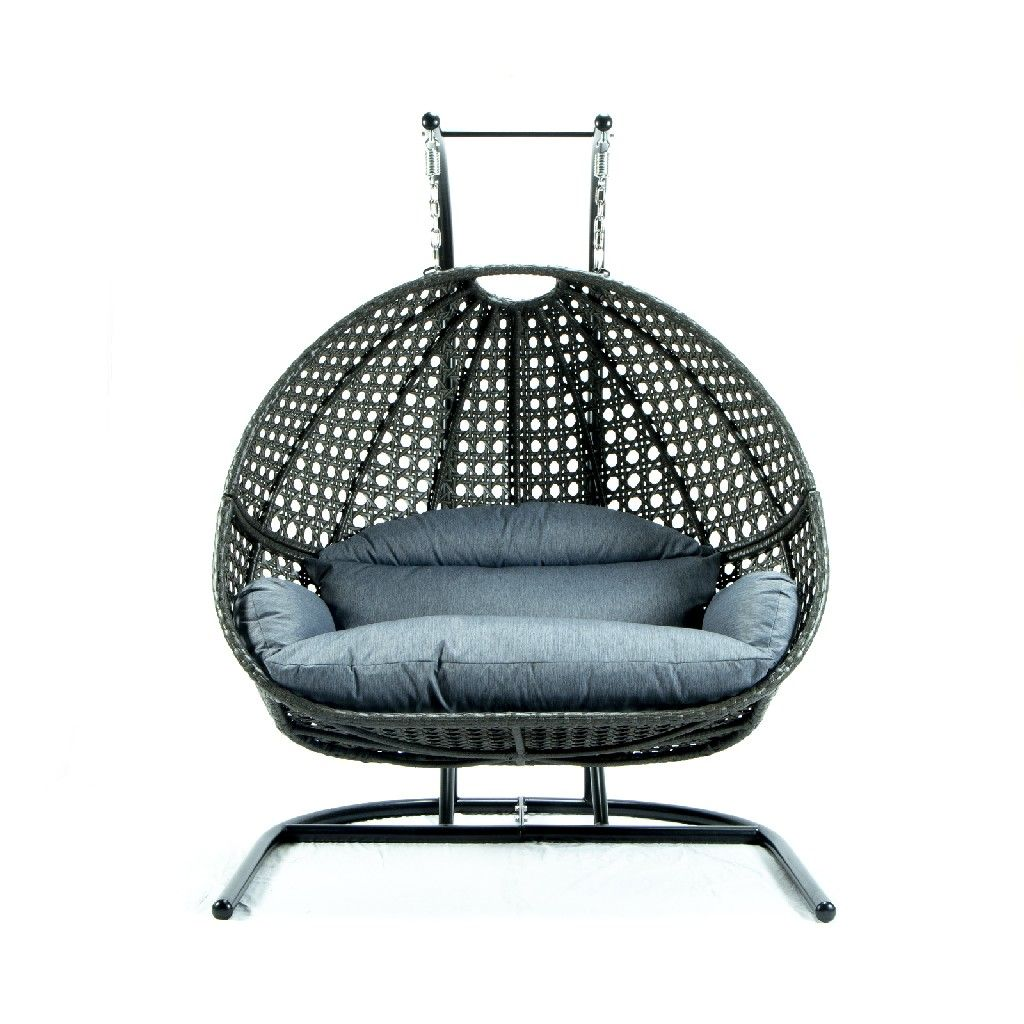 Wicker Hanging Double Egg Swing Chair Leisuremod Escu57cbu