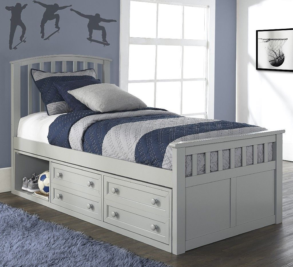 Charlie Twin Captain S Bed W Storage Unit In Gray Wood Hillsdale 2311cctb