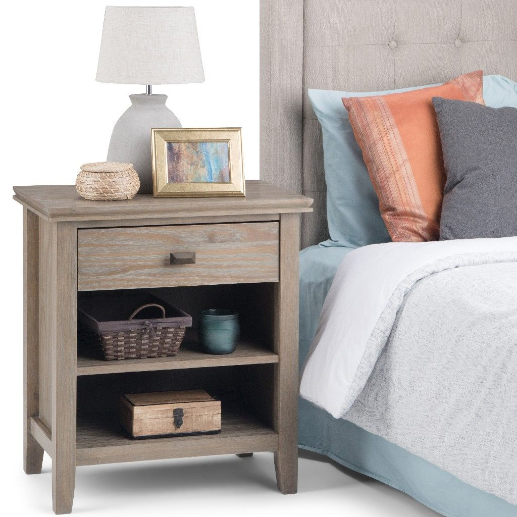 Artisan Solid Wood 24 Inch Wide Contemporary Bedside Nightstand Table In Distressed Grey Simpli Home 3axcart 02gr
