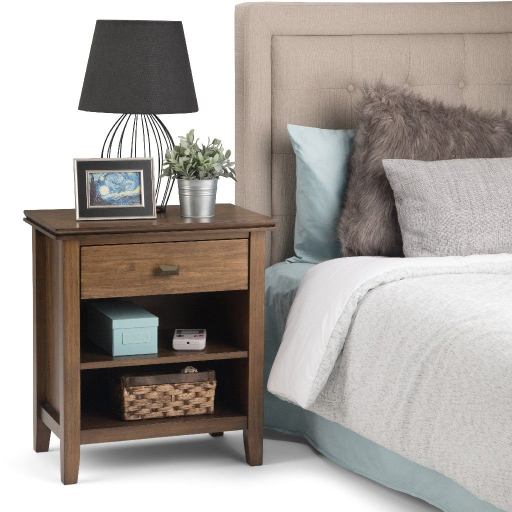 Artisan Solid Wood 24 Inch Wide Contemporary Bedside Nightstand Table In Rustic Natural Aged Brown Simpli Home 3axcart 02rnab
