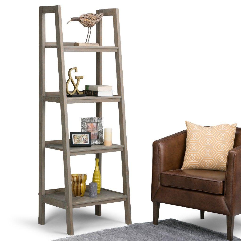 Sawhorse Solid Wood 72 Inch X 24 Inch Modern Industrial Ladder Shelf In Distressed Grey Simpli Home 3axcsaw 05 Gr