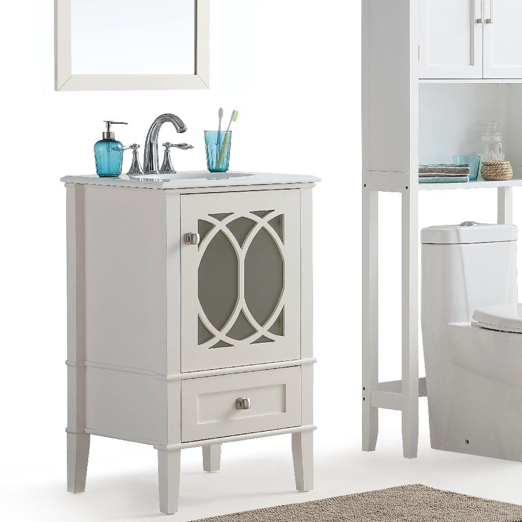 Paige 20 Inch Contemporary Bath Vanity In Soft White With White Engineered Quartz Marble Top Simpli Home 3axcvpaw 20