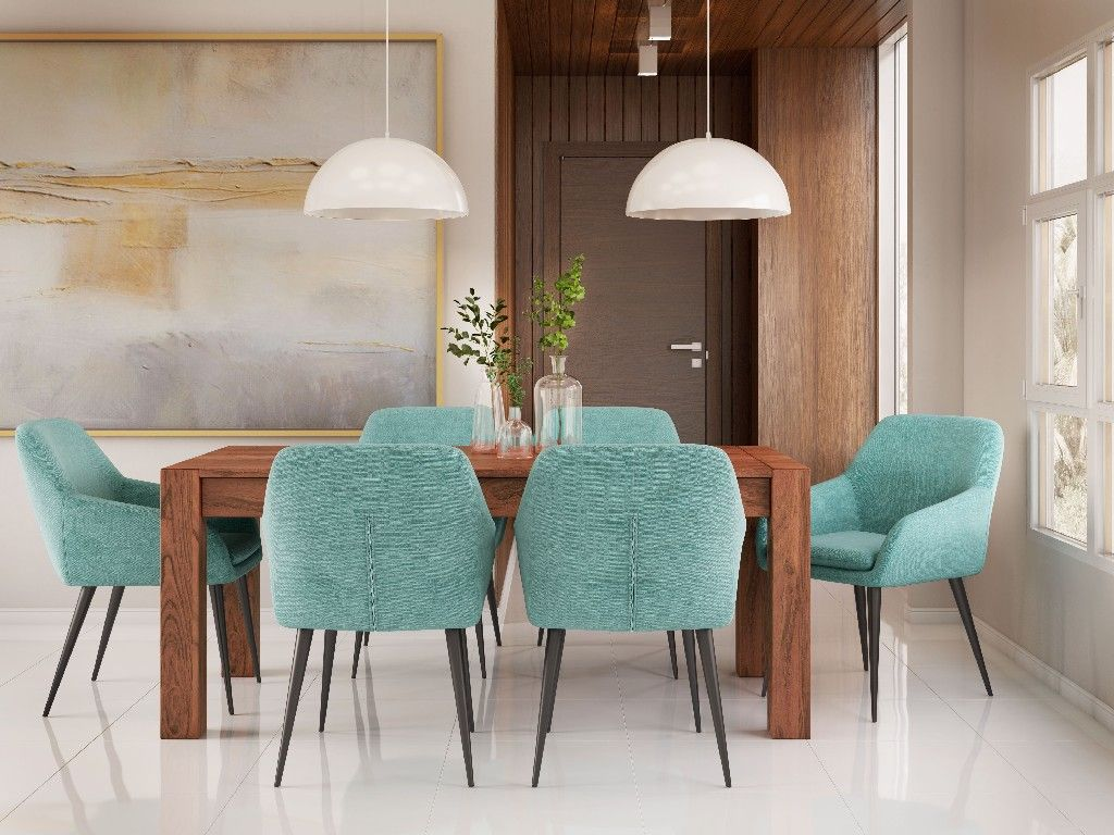 Marley Contemporary Ii 7 Pc Dining Set With 6 Upholstered Dining Chairs In Aqua Blue Linen Look Fabric And 72 Inch Wide Table Simpli Home Axcds7mudaq