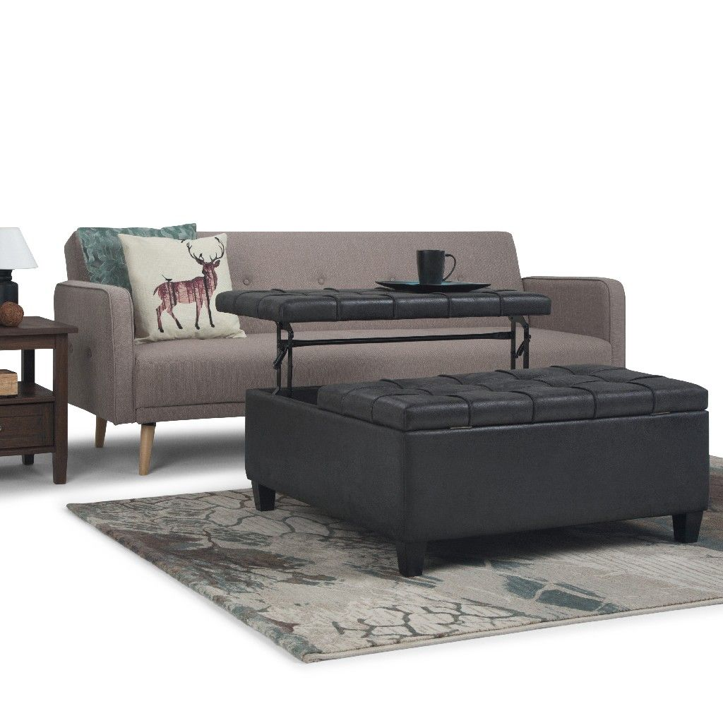 Harrison 36 Inch Wide Traditional Square Coffee Table Storage Ottoman In Distressed Black Faux Air Leather Simpli Home Axcot 265 Dbl