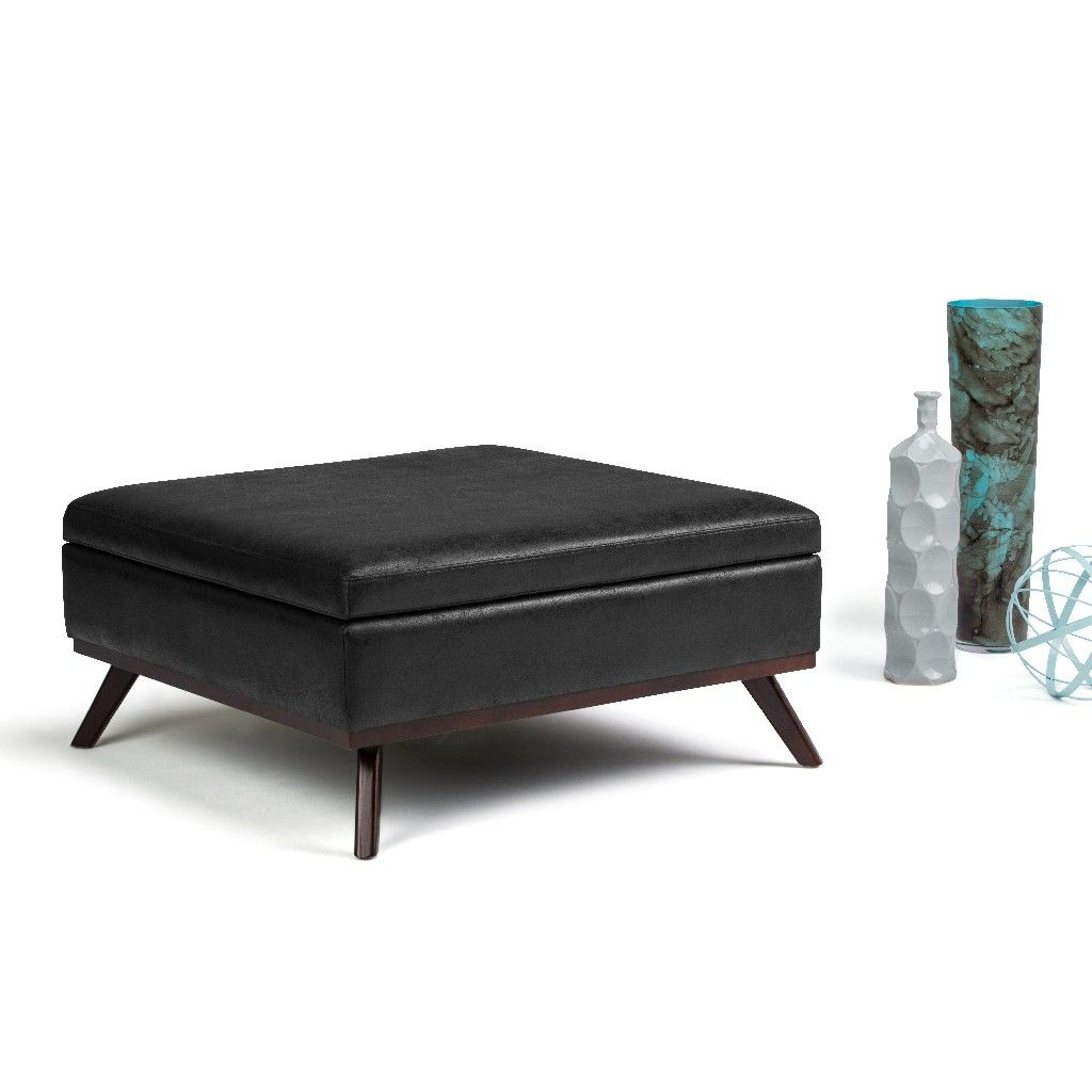Owen 38 Inch Wide Mid Century Modern Square Coffee Table Storage Ottoman In Distressed Black Faux Air Leather Simpli Home Axcot267l Dbl
