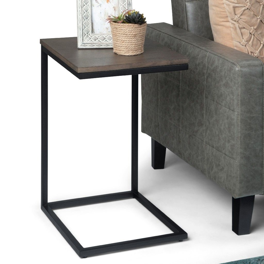 Thorpe Solid Mango Wood And Metal 14 Inch Wide Square Industrial Contemporary C Side Table In Warm Grey Simpli Home Axcthr C04