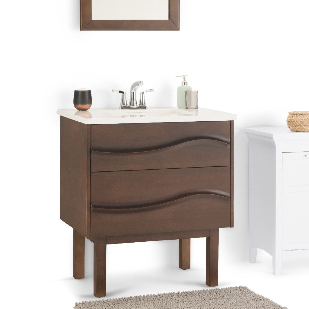 Marlowe 30 Inch Contemporary Bath Vanity In Brown With Light Grey White Veined Engineered Quartz Marble Extra Thick Top Simpli Home Axcvmrlbr 30