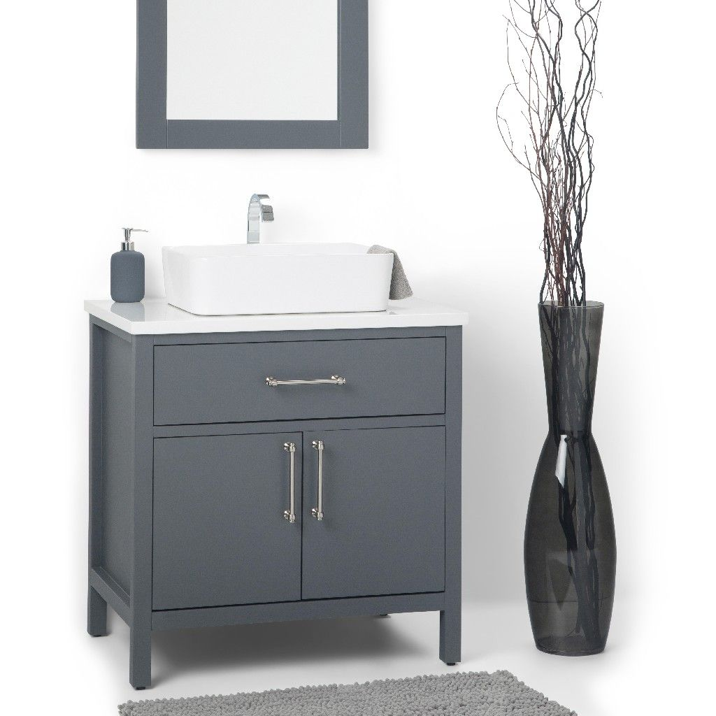 Patton 30 Inch Contemporary Bath Vanity In Charcoal Grey With White Engineered Quartz Marble Extra Thick Top Simpli Home Axcvpatcg 30