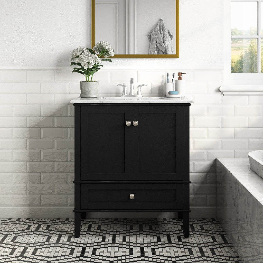 Chelsea 30 Inch Contemporary Bath Vanity In Midnight Black With White Engineered Quartz Marble Top Simpli Home Axcvrchebl 30