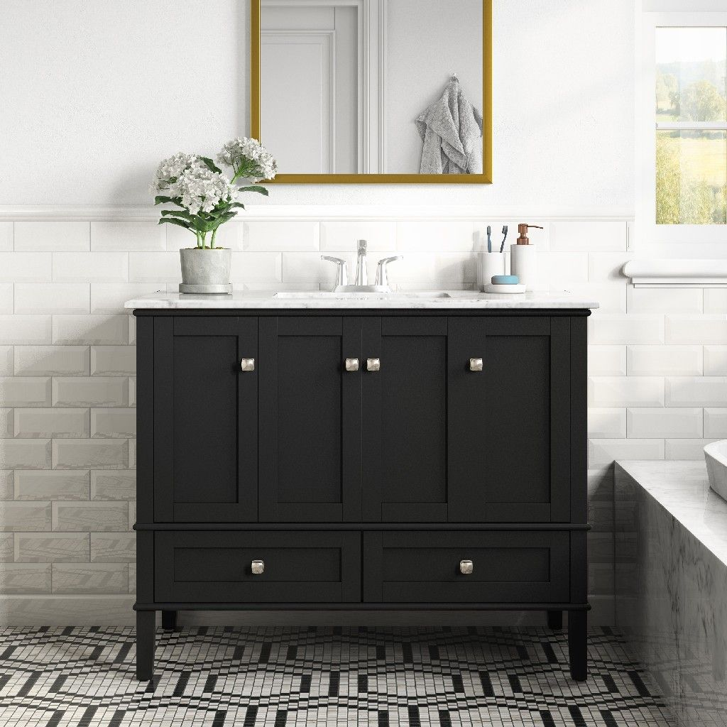 Chelsea 42 Inch Contemporary Bath Vanity In Midnight Black With White Engineered Quartz Marble Top Simpli Home Axcvrchebl 42