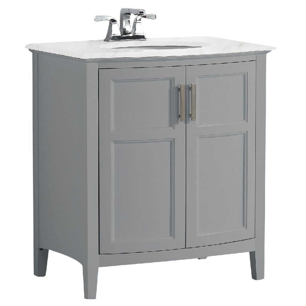 Winston 30 Inch Contemporary Bath Vanity In Warm Grey With Bombay White Engineered Quartz Marble Extra Thick Top Simpli Home Axcvwnrg 30