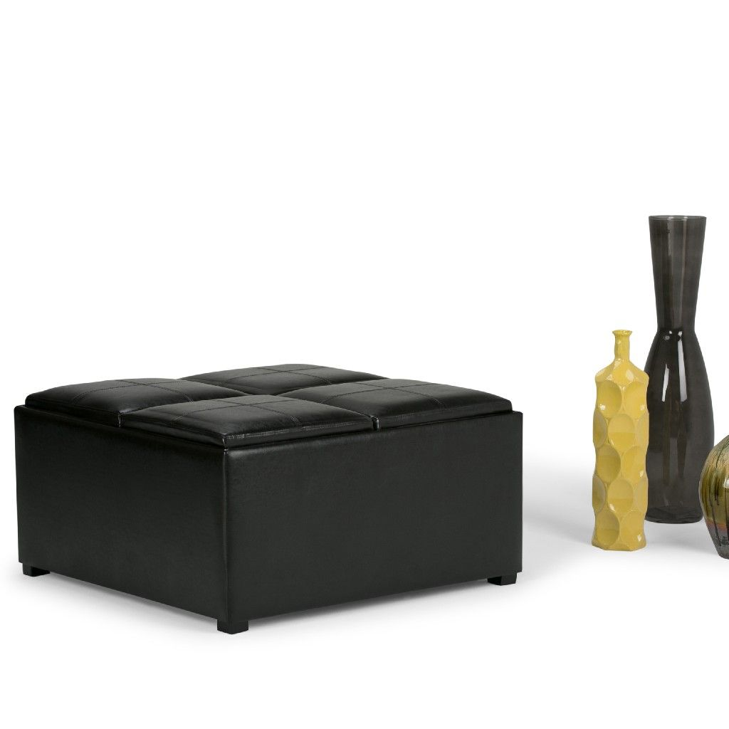 Avalon 35 Inch Wide Contemporary Square Coffee Table Storage Ottoman In Midnight Black Faux Leather Simpli Home Ay F 07 Bl