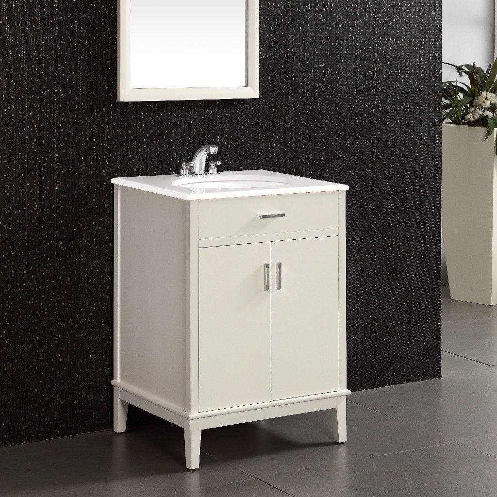 SIMPLIHOME Chelsea 24 inch Contemporary Bath Vanity in Soft White with White Engineered Quartz Marble Top