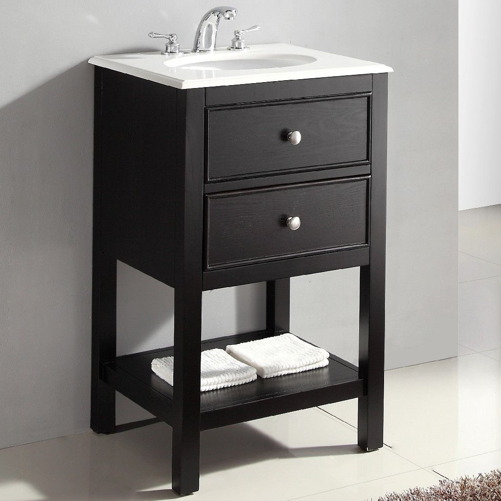 Wilmington 20 Inch Contemporary Bath Vanity In Black With Bombay White Engineered Quartz Marble Top Simpli Home Wilm Bl 20