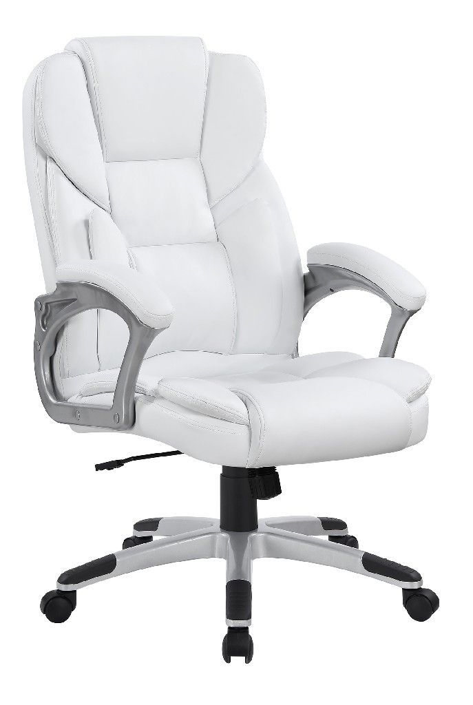 Casual White Faux Leather Office Chair Coaster 801140