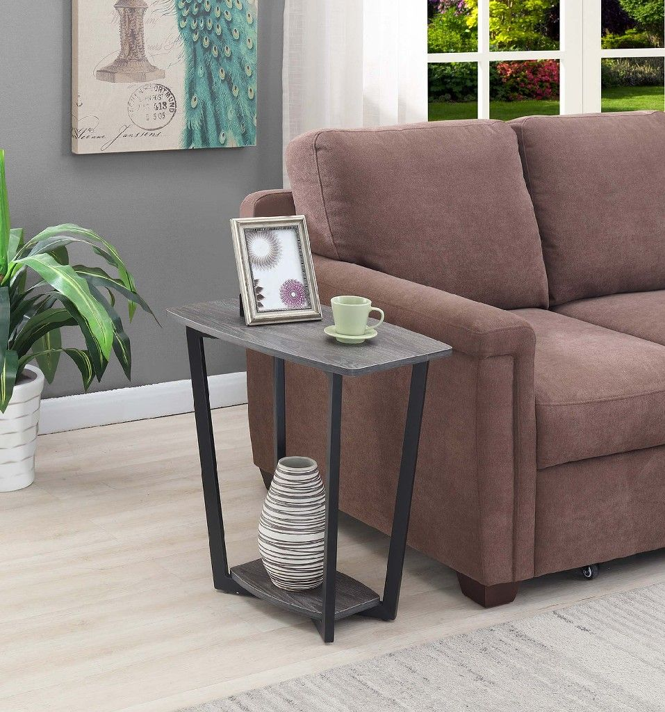 Graystone End Table In Weathered Gray Black Frame Convenience Concepts 111245wgybl