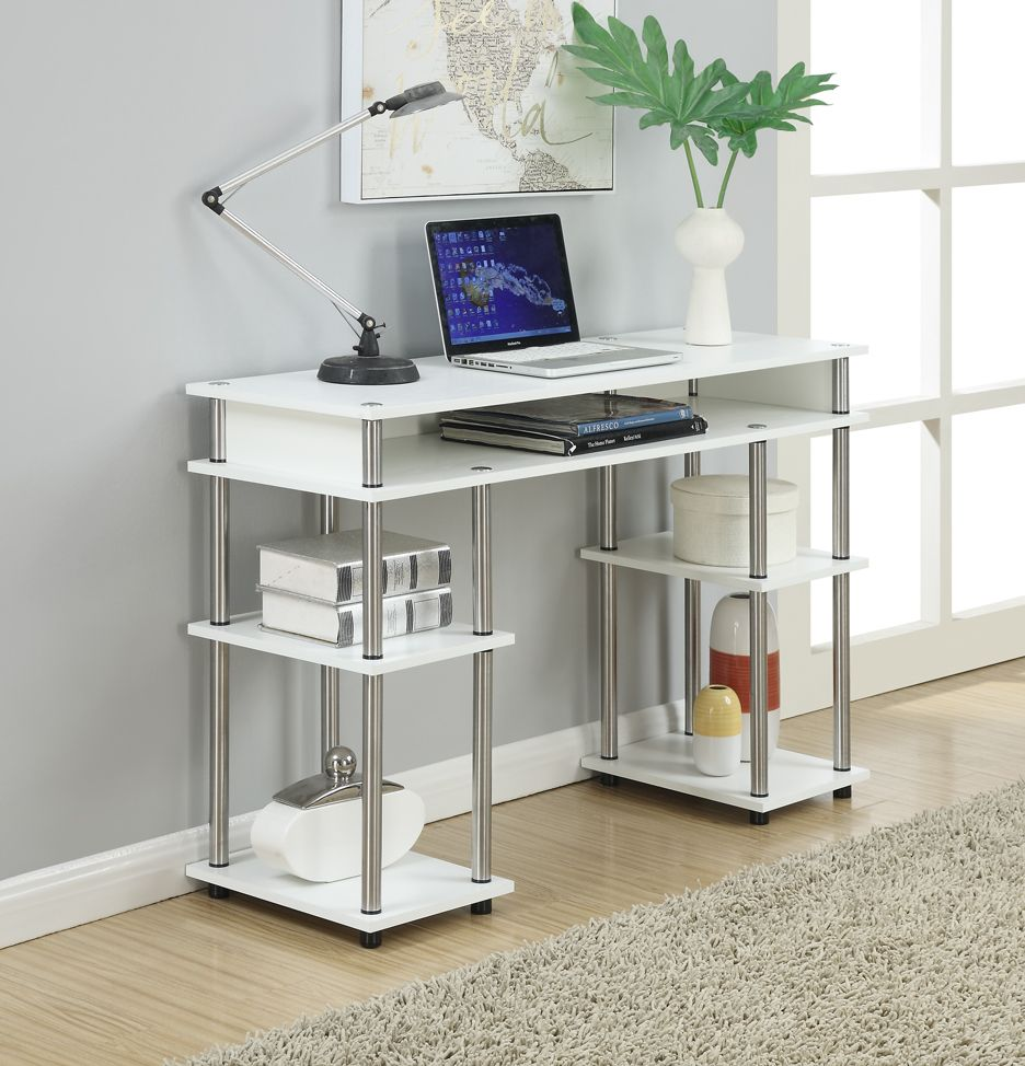 No Tools Student Desk in White Finish - Convenience Concepts 37W