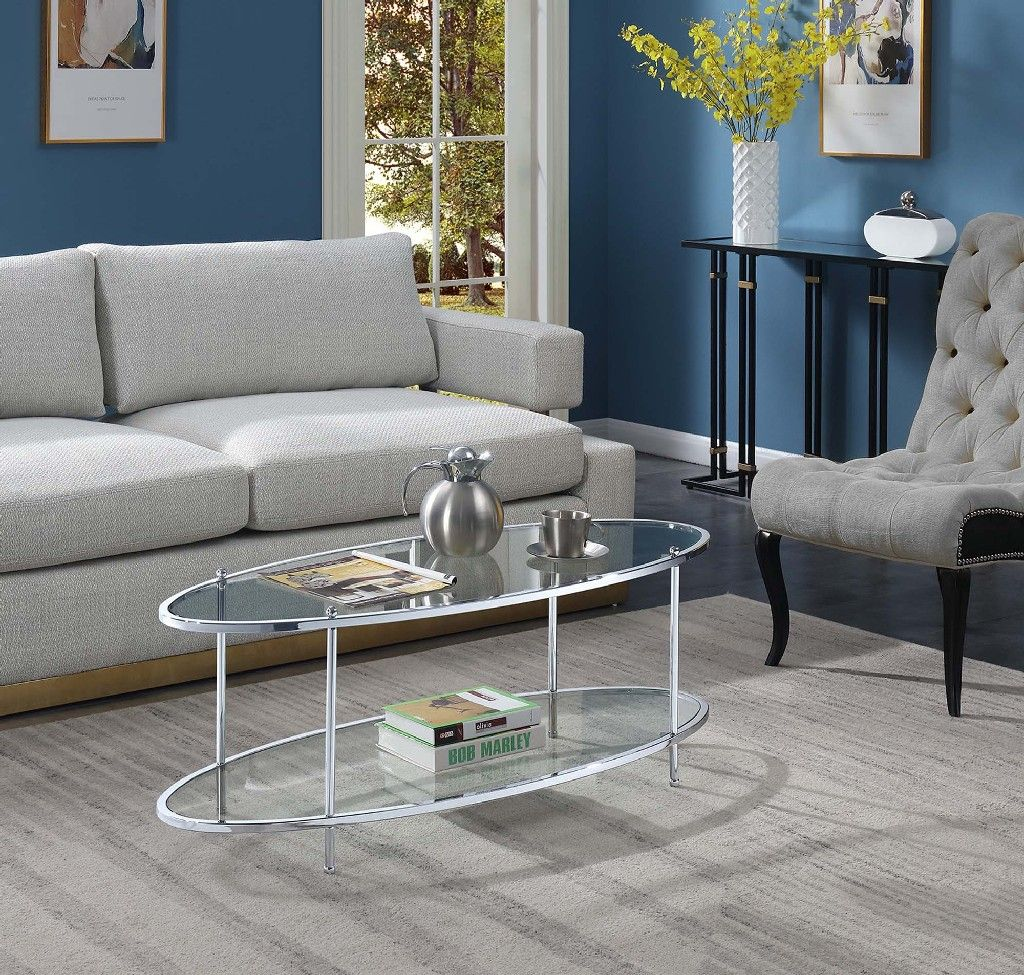 Picture of: Royal Crest Oval Coffee Table In Clear Glass Chrome Frame Convenience Concepts 134049glcro