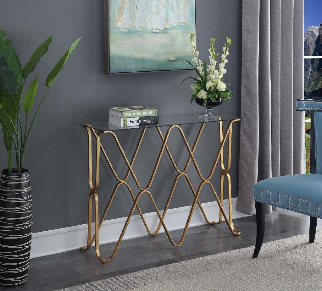 Picture of: Neptune Console Table In Glass Top Gold Frame Convenience Concepts 413569glg
