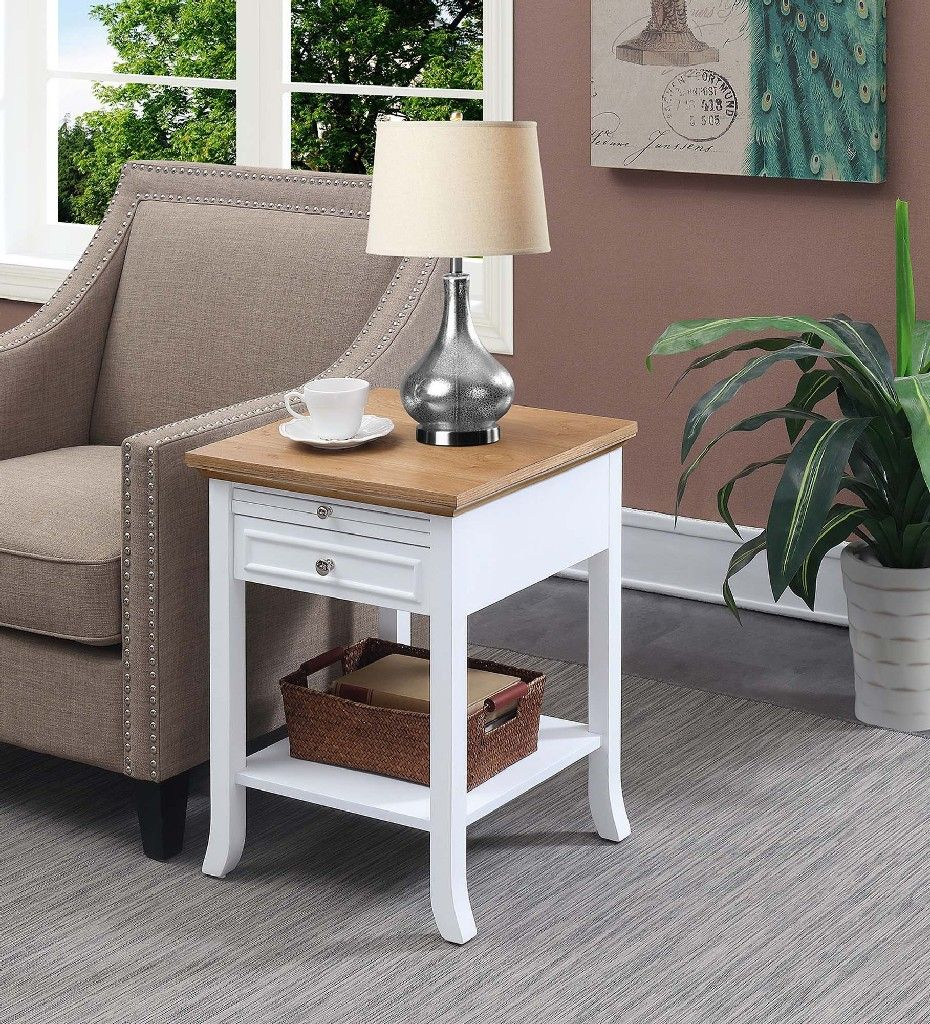 American Heritage Logan End Table With Drawer And Slide In Driftwood White Convenience Concepts 7102045wdftw