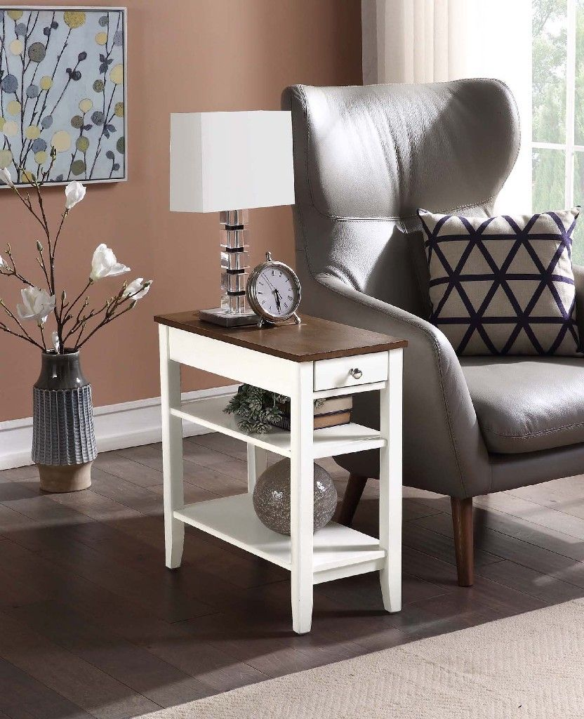 American Heritage Three Tier End Table W Drawer In Driftwood White Convenience Concepts 7107159wdftw
