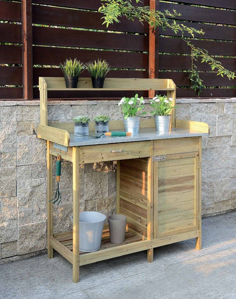Deluxe Potting Bench W Cabinet In Natural Fir Finish Convenience Concepts G10440n