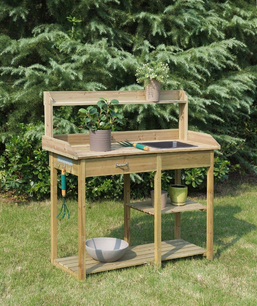 Deluxe Potting Bench In Natural Fir Finish Convenience Concepts G10458n