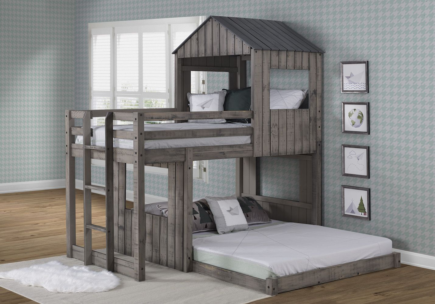 Picture of: Twin Over Full Campsite Loft In Rustic Grey Donco 3344 Tfrdg