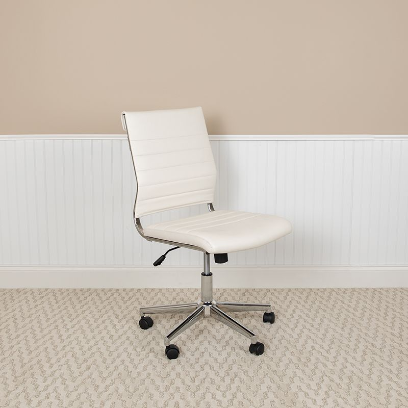 Mid Back Armless White Leathersoft Contemporary Ribbed Executive Swivel Office Chair Flash Furniture Bt 20595m Na Wh Gg