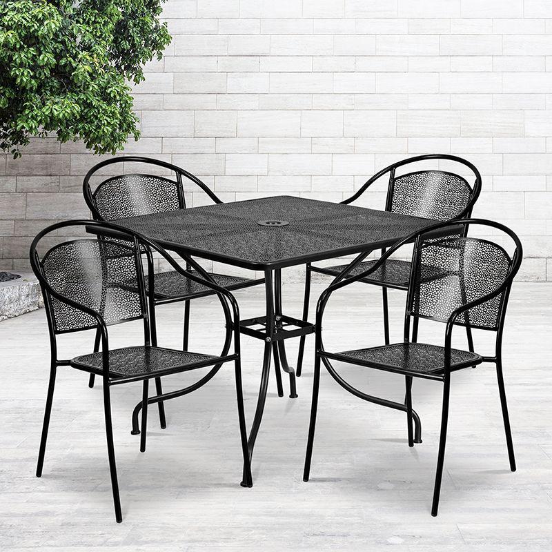 35 5sq black patio table set flash furniture co 35sq 03chr4 bk gg
