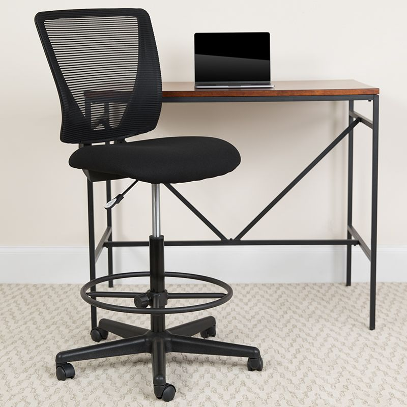 Ergonomic Mid Back Mesh Drafting Chair W Black Fabric Seat And Adjustable Foot Ring Flash Furniture Go 2100 Gg